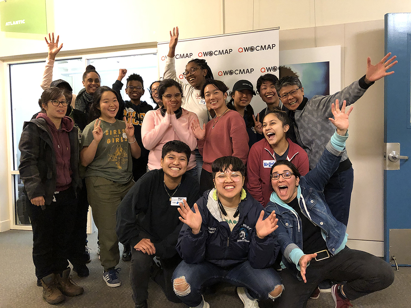 "Participants of ""Queer Women of Color Media Arts Project QWOCMAP Filmmaker Training Program"" celebrate the presentation of their Project Innovation 2019 grant, in the San Francisco Bay Area"